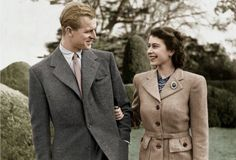 Queen Elizabeth and Prince Philip at Buckingham Palace 1950s.