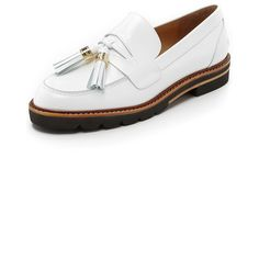 Stuart Weitzman Manila Loafers (1.780 RON) ❤ liked on Polyvore featuring shoes, loafers, bianco, platform shoes, tassle loafers, platform loafers, tassel loafers and flat heel shoes