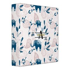 Paisley Elephants Pastel Blue Pink Monogram Custom Binder - pink gifts style ideas cyo unique