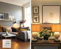 Decoração de sala aconchegante em 3 camadas • MeuEstiloDecor Entryway Bench, Gallery Wall, House, Furniture, Home Decor, Cozy Bedroom, Cozy House, Cape Clothing, Table Lamp Shades