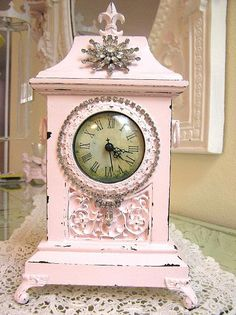 Pretty Pink Antique Clock