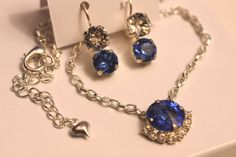 Swarovski Sapphire and Crystal Set Necklace&Earrings by gemforjoy