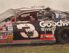 In the 1997 Daytona 500, Dale Earnhardt restarted this battered racecar after flipping it onto its' roof, and landing in the infield. After a quick visit with paramedics, he asked a track safety worker to see if it would restart. When it fired up, he got back in the car and went on to finish the race. That is determination! #DaleEarnhardt https://www.pinterest.com/jr88rules/dale-earnhardt/