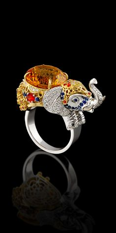 Ring 10577 Collection: Animal world  18K yellow and white gold, citrine 9,27 ct, diamonds, yellow diamonds, blue sapphires, red sapphires.