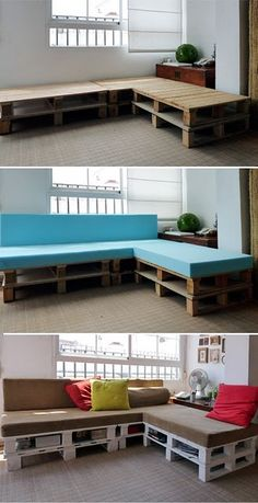 I feel like I could make this a super cute outdoor patio seating area with a palet table too!! Proceso (palet sofa)