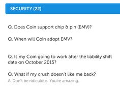 Coin - Slipped a silly question into the Security section of the FAQs.