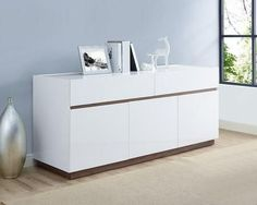 SB1397WHT Serena Buffet High Gloss White With Walnut Veneer Accent Trim And Base 2 Large Drawers And 3 Doors With Self-Closing Hardware 1 Wooden Shelf Inside Each Door
