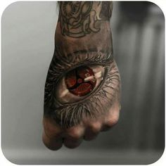 Dragon Eye Tattoo on Hand 3d Tattoos, Badass Tattoos, Body Art Tattoos, Sleeve Tattoos, Cool Tattoos, Naruto Tattoo, Tatouage Jester, Rosary Tattoo Arm, Sharingan Eyes