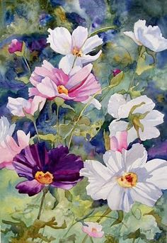 "Kay Smith. ""Cosmos Charm"" 22x15 watercolor"