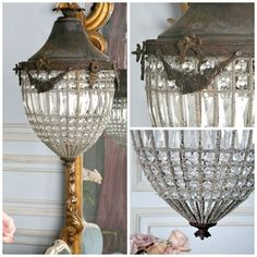 Antique French Reproduction Chateau Crystal Beaded Lantern