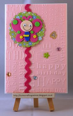 birthday card; 4th birthday, clean and simple, embossing folder, ribbon, foamed rubber sticker, butterfly