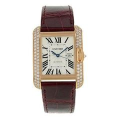 Men's Wrist Watches - Cartier Tank Anglaise Rose Gold Diamonds Automatic Mens Watch *** For more information, visit image link. Cartier Tank Anglaise, Tank Watch, Expensive Watches, Luxury Watches For Men, 18k Rose Gold, Cool Watches, Wrist Watches, Square Watch, White Tank