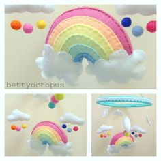 Rainbow and clouds baby mobile  felt mobile  baby hanging mobile on Etsy, £50.41