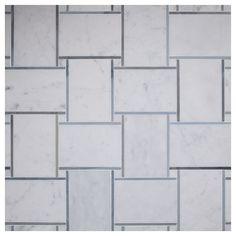 Complete Tile Collection Mosaic Tile Patterns, Large Basketweave Mosaic, MI#: 237-S2-402-105, Color: Bianco Carrara with Blue Dreams