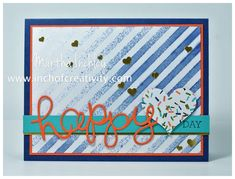 Thursday, February 2015 Inch of Creativity: Happy Heart Day Crazy About You, Birthday Bash DSP, Irresistibly Yours DSP, Confetti Hearts Border Punch Heart Border, Happy Hearts Day, Crazy About You, Heart Day, Birthday Bash, Stampin Up, Envelope, Card Making, Greeting Cards