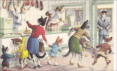 Mainzer Cat postcard - Bad news at the Butcher shop vintage Postcard. 4978a, dressed animals, cat postcard, cats postcard by sharonfostervintage on Etsy