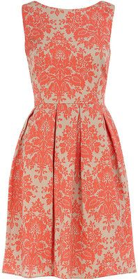 Coral damask dress: i can pretend to be on downton...ok too short but still very english country side :)