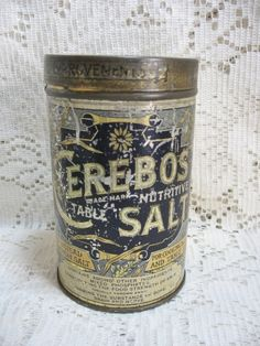 Early Cerebos Table Salt Advertising Tin Container
