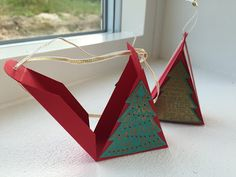 Triangular Christmas Tree Treat Box, Video Tutorial using Peaceful Pines by Stampin' Up