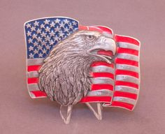 1990 Flag & Eagle belt buckle by Siskiyou Buckle Co. available at our eBay store! $25