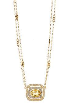 Two-Tone Yellow Beryl & White Diamond Cushion Pendant Necklace by Savvy Cie on @HauteLook