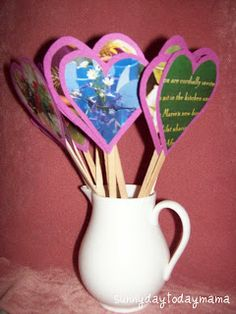 a Valentines craft but I think it would be great for mothers day. Put magazine pictures of things mom loves could include one with the child's picture on it.