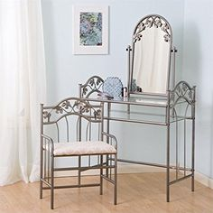 Coaster Nickel Bronze Finish Metal Vanity Table Stool  Mirror Set -- To view further for this item, visit the image link. (This is an Amazon Affiliate link and I receive a commission for the sales)