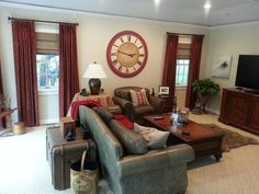 """Large Wall Red Clock - Avail. in seven sizes (12"""" to 60"""") Personalize!The Big Clock Store"""