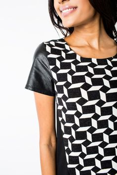 Counterpoint Top #black #chic #contrast #counterpoint #edgy #graphic #leather #leatherette #modern #pattern #sexy #t-shirt #tops #vegan #white #women #womens
