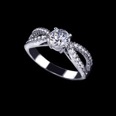 Wave Band Design Tiny CZ Pave 0.75ct Engagement Anniversary Lovers Ring - Available Sz 5, 6, 7.25 On on Luulla