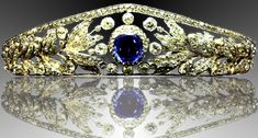Nassau sapphire tiara, leaf and berry motif , about 1865, Grand Dutchess Adelaide.  The sapphire can be removed and worn sep.