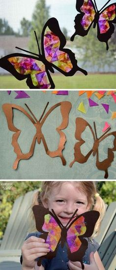 Brighten up your windows with these DIY tissue paper butterfly sun catchers! Stained glass tissue paper sun catchers are an easy kids craft for all ages. Easy Crafts For Kids, Summer Crafts, Diy For Kids, Diy And Crafts, Arts And Crafts, Craft Kids, Adult Crafts, Sun Catchers, Diy Ostern