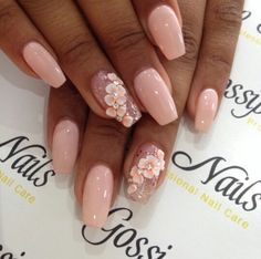 Baby pink #nails with 3D #nailart