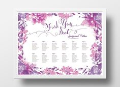 Wedding Seating Chart Poster DIY | Editable PowerPoint Template | Floral  Pink And Purple