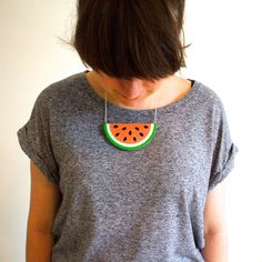 Watermelon Necklace by lucie0ellen on Etsy