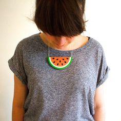 Super juicy tropical watermelon slice necklace!