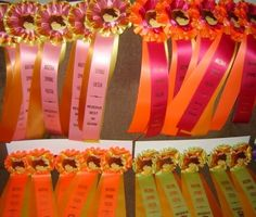 Hot and Neon colors on horse show awards.  Produced by Hodge's Badge Company.