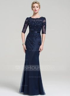 [US$ 149.99] Trumpet/Mermaid Scoop Neck Floor-Length Tulle Lace Evening Dress With Beading Sequins