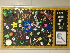 "Speech Therapy ""I Spy"" Bulletin Board! Speech Bulletin Boards, Welcome Bulletin Boards, Interactive Bulletin Boards, Classroom Board, School Bulletin Boards, Classroom Decor, Class Decoration, School Decorations, School Themes"
