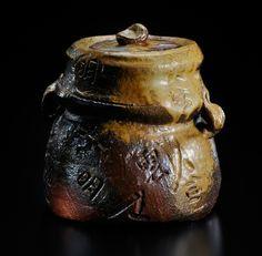 Bizen Water Jar embellished with kanji script 20.5x20.0x19.5cm, 2009