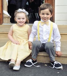 Oh my, bow tie and suspenders on ring Boy and cute yellow summer dress for the flower girl. Yes I think so! Yellow Grey Weddings, Gray Weddings, Yellow Wedding, Dream Wedding, Pink Wedding Shoes, Wedding Colors, Mellow Yellow, Grey Yellow, Yellow Plaid Shirt