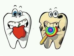 The healthy tooth eats fruits and vegetables and drinks water, while the unhealthy tooth with dental decay eats sugary candy and drinks soda. Dentaltown - Patient Education Ideas