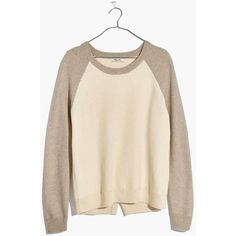 MADEWELL Province Cross-Back Pullover Sweater in Colorblock ($70) ❤ liked on Polyvore featuring tops, sweaters, heather moonstone, layered sweater, cross back top, block sweater, color block tops and block top