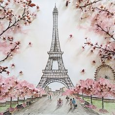 Peinture Paris Cerisier Tour Eiffel / Cathy Carteries