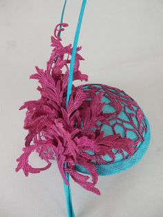 Festive aqua sinamay hat covered with by MarcusArtandFashion, $159.00
