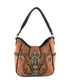 365550673f Tooled Floral Embroidery Buckle Studded Concealed Carry Tote Purse - Tan  Purse - C112NRMM5QB