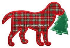 Christmas Dog 3 Applique Design