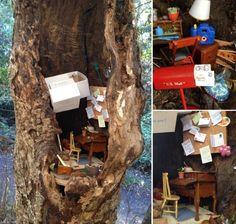 The Fairy Post Office, A Tiny Post Office Hidden Inside a Tree in an Orinda, California Park.