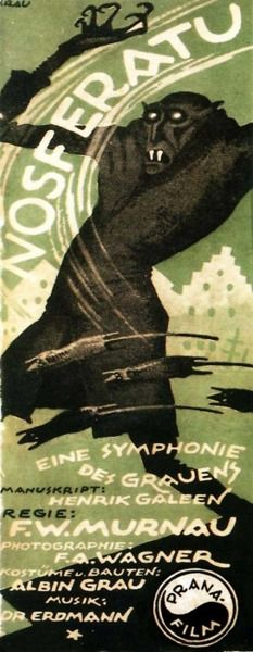 Nosferatu, 1929  - I didn't think I liked German expressionistic silent films, until I saw this with live organ music at our local town hall. Oh my I was hooked...CJ