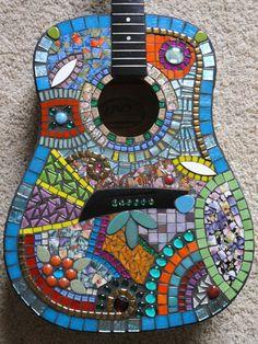 JUMBO Mosaic Guitar FREE SHIPPING//Mosaics//Art//Mosaic Art//Home Decor//Wall Decor//Mixed Media Art//One of a Kind Art